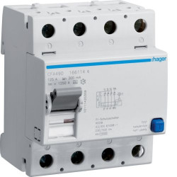 Intrerupator automat Hager CFA490 - INTR.DIF. 4P 125A, 300MA