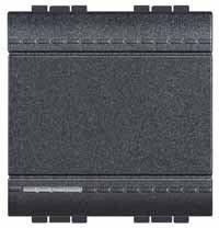 Intrerupator Bticino L4003M2N Living Light - Intrerupator cap scara 16A - 250V, 2 module, borne cu surub, negru