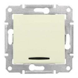 Intrerupator Schnedier SDN0400347 Sedna - Intrerupator simplu cu indicator luminos rosu, 10 AX - 250 V, bej