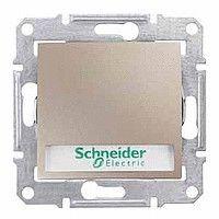 Intrerupator Schnedier SDN1600368 Sedna - Intrerupator cu revenire si indicator luminos albastru,10 AX - 250 V, cu suport eticheta, titan