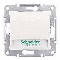 Intrerupator Schneider SDN1700423 Sedna - Intrerupator cu revenire cu suport eticheta si cu indicator luminos rosu, 10 AX - 12 V, crem