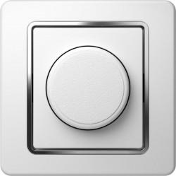 Intrerupator Tem EE19CO-B Ekonomik - Variator rotativ dimabil cap-scara 100 alb cu inel argintiu