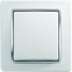 Intrerupator Tem SE11CO-B Ekonomik - Buton simplu alb cu inel argintiu