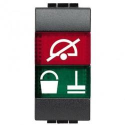 Lampa Bticino L4373H Living Light - Lampa semnalizare cu difuzor rosu/verde deranjati si curatati camera , 1M, negru