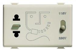 Priza Bticino AM5460 Matix - Priza de ras cu transformator, 2 module, alb