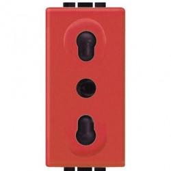 Priza Bticino L4180R Living Light - Priza standard italian, 2P+T, 16A, 1M, rosu