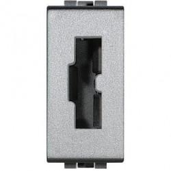 Priza Bticino NT4115 Living Light - Priza de siguranta pentru stecher 2200NA sau 2200NN, standard italian , 2P+T, 10A, 1M, argintiu