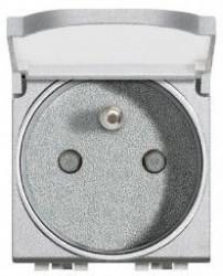 Priza Bticino NT4145 Living Light - Priza standard francez cu capac, 2P+N, 16A, 250V, 2M, argintiu