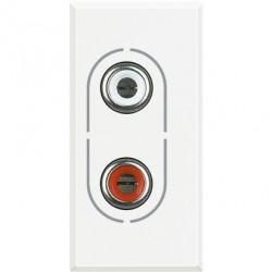 Priza Semnal Bticino HD4281 Axolute - Conector audio dublu RCA, 1M, alb