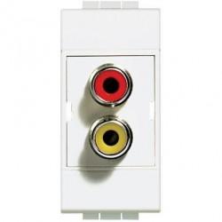 Priza Semnal Bticino N4269R Living Light - Conector dublu RCA, 1M, alb