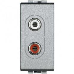 Priza Semnal Bticino NT4281 Living Light - Conector audio dublu RCA, 1M, argintiu