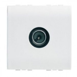 Priza TV/SAT Bticino N4202P/2 Living Light - Priza TV intermediara, atenuare 14dB, 2M, alb