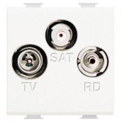 Priza TV/SAT/FM Bticino AM5210M2D Matix - Priza TV, satelit, FM, 2M, de capat, alb