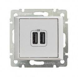 Priza USB Legrand 753112 Valena Life - Incarcator USB dublu, 5V, 1500mA, alb