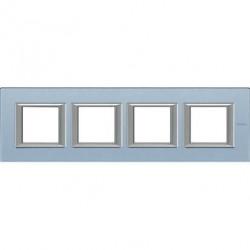 Rama Bticino HA4802M4HVZS Axolute - Rama din sticla, rectangulara, 2+2+2+2 module, st. german, blue glass