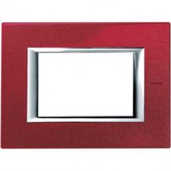 Rama Bticino HA4803RC Axolute - Rama metalica, rectangulara, 3 module, st. italian, red china