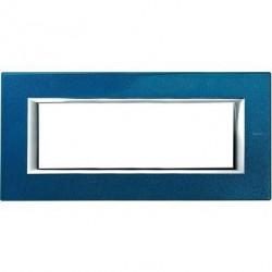 Rama Bticino HA4806BM Axolute - Rama metalica, rectangulara, 6 module, st. italian, blue meissen