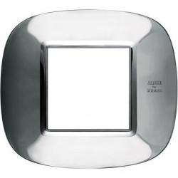 Rama Bticino HB4802AXL Axolute - Rama metalica, eliptica 2 module, st italian, shiny stainelss steel