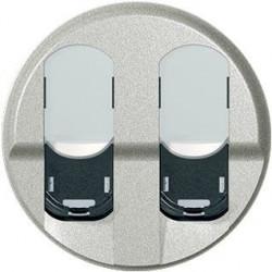 Tasta priza date Legrand 68552 Celiane - Placa pentru priza dubla de date celiane FTP/UTP, argintiu