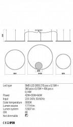 Corp iluminat Redo 01-1954 Orbit - Lustra led, 163W, 3000k, 12507lm, negru