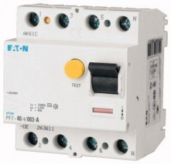 Intrerupator automat Eaton 263592 - PF7-63/4/03-Intr diferential 63A,4P,300mA,10kA