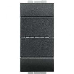 Intrerupator Bticino L4051A Living Light - Intrerupator simplu cu comanda axiala 16A - 250V, 1 modul, borne automate, negru