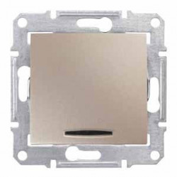 Intrerupator Schneider SDN0201168 Sedna - Intrerupator bipolar cu indicator luminos rosu, 10 AX - 250 V, titan