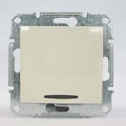 Intrerupator Schneider SDN1400147 Sedna - Intrerupator cu indicator luminos albastru, 10 AX - 250 V bej