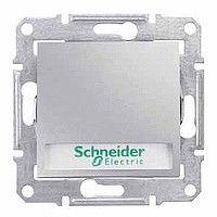 Intrerupator Schneider SDN1700460 Sedna - Intrerupator cu revenire cu suport eticheta si cu indicator luminos rosu, 10 AX - 12 V, aluminiu