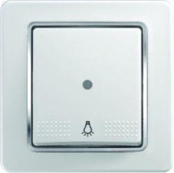 Intrerupator Tem SE11COTI51-B Ekonomik - Buton simplu cu led alb cu inel argintiu