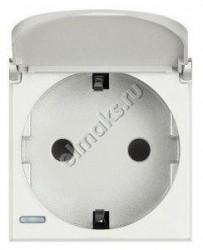 Priza Bticino HD4141PW Axolute - Priza standard german, cu capac, 2P+T, 16A, 250V, 2M, alb