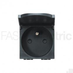 Priza Bticino L4145 Living Light - Priza standard francez cu capac, 2P+N, 16A, 250V, 2M, negru