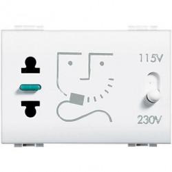 Priza Bticino N4177 Living Light - Priza pentru aparat de ras, 230V 3M, alb