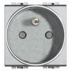 Priza Bticino NT4142 Living Light - Priza standard francez, 2P+T, 16A, 250V, 2M, argintiu