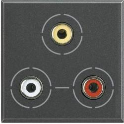 Priza semnal Bticino HS4283 Axolute - Conector triplu RCA, 2M, negru