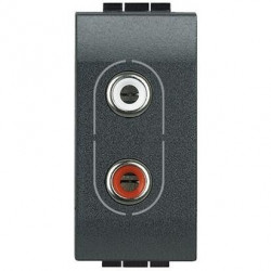 Priza Semnal Bticino L4281 Living Light - Conector audio dublu RCA, 1M, negru