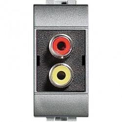 Priza Semnal Bticino NT4269R Living Light - Conector dublu RCA, 1M, argintiu