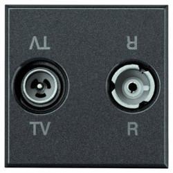 Priza TV/RD Bticino HS4211D Axolute - Priza TV-RD , 2M, negru