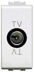 Priza TV/SAT Bticino N4202PT living Light - Priza TV intermediara cu adaptor impedanta 75 Ohm, atenuare 10dB, 1M, alb