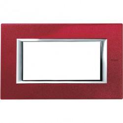Rama Bticino HA4804RC Axolute - Rama metalica, rectangulara, 4 module, st. italian, red china