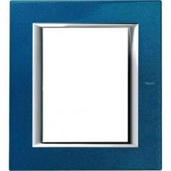 Rama Bticino HA4826BM Axolute - Rama metalica, rectangulara, 3+3 module, st. italian, blue meissen