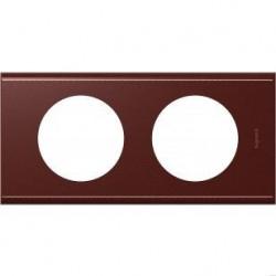 Rama Legrand 69292 Celiane - Rama din piele, 2 posturi, interax 71mm, piele mahon