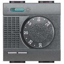 Termostat Bticino L4442 Living Light - termostat de ambianta cu inversor vara/iarna, 2M, 2A, negru