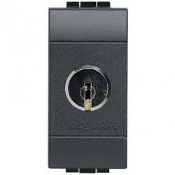 Intrerupator Bticino L4012 Living Light - Intrerupator bipolar cu cheie, 2P, 16A - 250V, 1 modul, negru