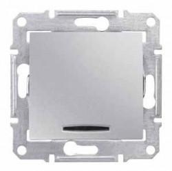 Intrerupator Schneider SDN0201260 Sedna - Intrerupator bipolar cu indicator luminos rosu, 16 AX - 250 V, aluminiu