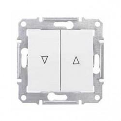 Intrerupator Schneider SDN1300321 Sedna - Intrerupator pentru jaluzele cu interblocare mecanica, 10 AX - 250 V, alb