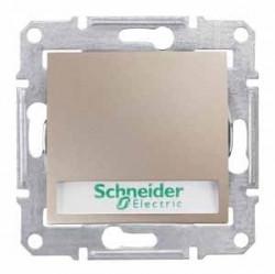 Intrerupator Schneider SDN1700468 Sedna - Intrerupator cu revenire cu suport eticheta si cu indicator luminos rosu, 10 AX - 12 V, titan