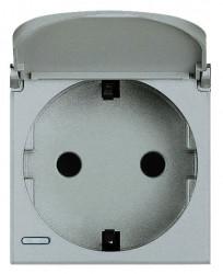 Priza Bticino HC4141PW Axolute - Priza standard german, cu capac, 2P+T, 16A, 250V, 2M, argintiu