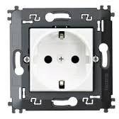 Priza Bticino N4141MA Living Light - Priza standard german cu contacte laterale pentru impamantare, borne automate, 2P+T, 16A, 250V, 2M, alb