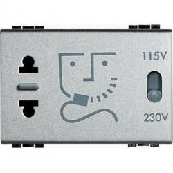Priza Bticino NT4177 Living Light - Priza pentru aparat de ras, 230V 3M, argintiu